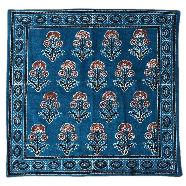 木版染めアジュラックの伝統模様クッションカバー ブルー 11 - 選択3