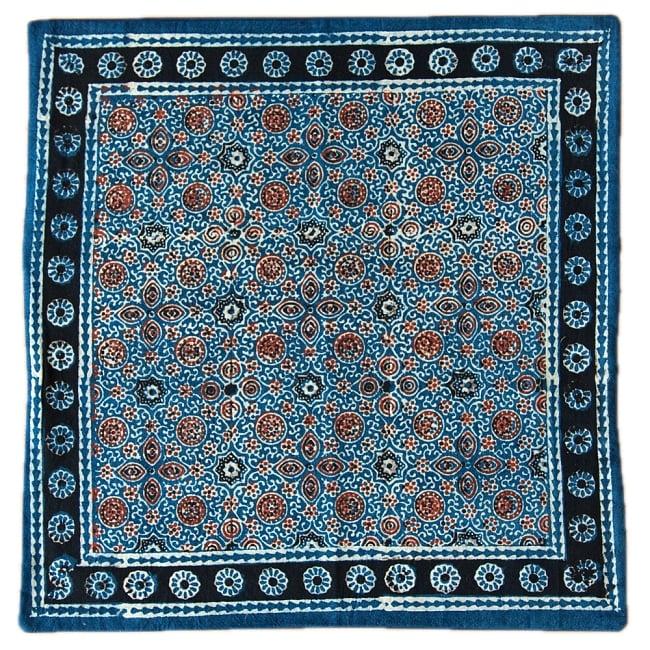 木版染めアジュラックの伝統模様クッションカバー ブルー 12 - 選択4