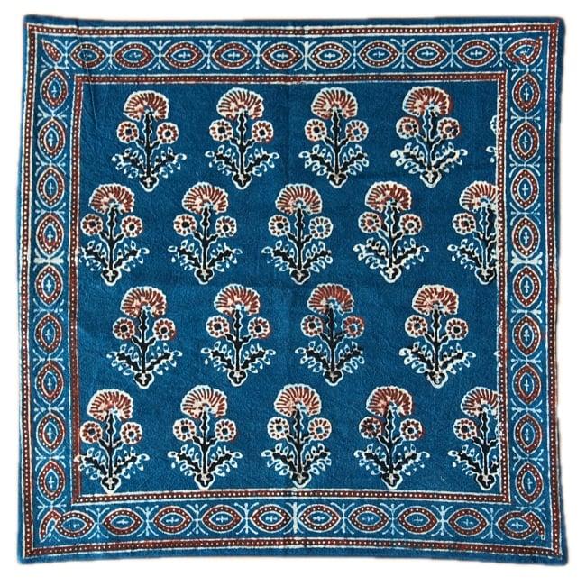 木版染めアジュラックの伝統模様クッションカバー ブルー 13 - 選択5