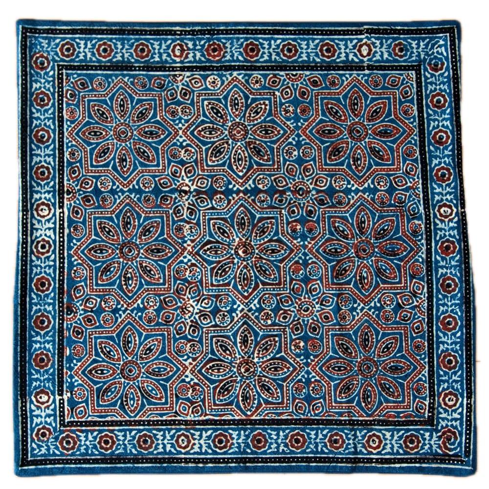 木版染めアジュラックの伝統模様クッションカバー ブルー 14 - 選択6
