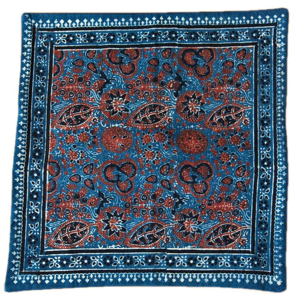 木版染めアジュラックの伝統模様クッションカバー ブルー 9 - 選択1