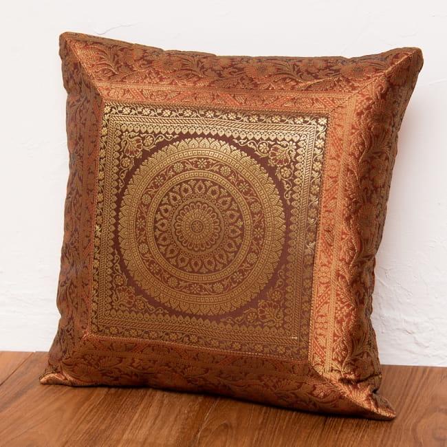 金糸入りのインド伝統柄クッションカバー 曼荼羅 7 - 選択2:ブラウン-約40cm