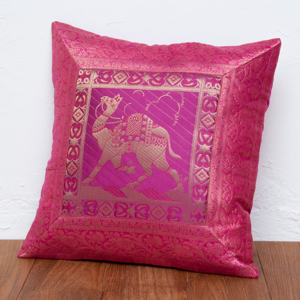 金糸入りのインド伝統柄クッションカバー 駱駝と孔雀 4 - 選択1:ラクダ-ピンク