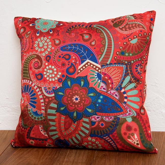 お部屋を彩る インド伝統柄カラフルクッション 4 - 選択3:花とペイズリー:レッド