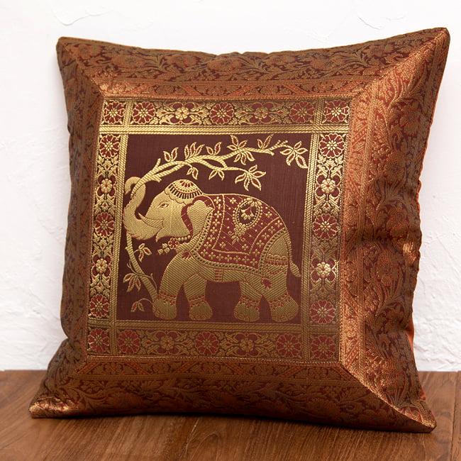 金糸入りのインド伝統柄クッションカバー象 10 - 選択9:ブラウン-右向き