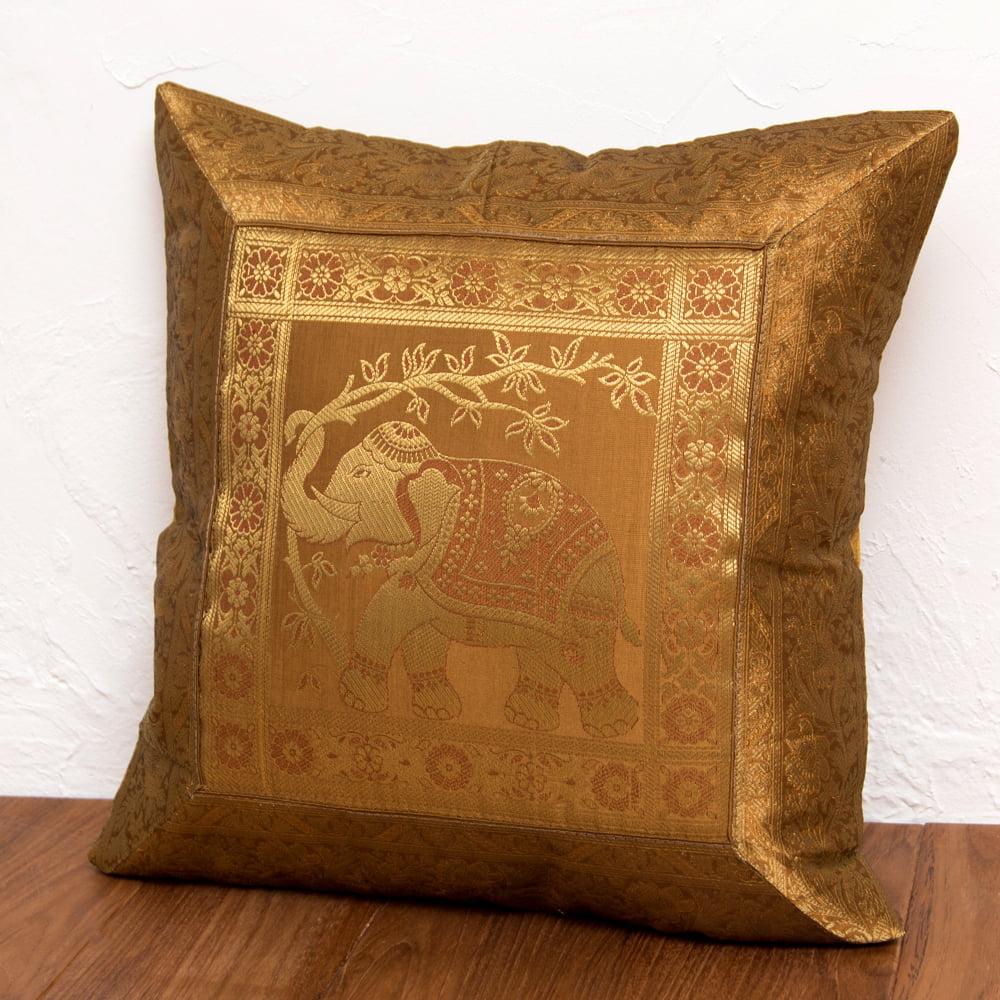 金糸入りのインド伝統柄クッションカバー象 11 - 選択10:ゴールド-右向き