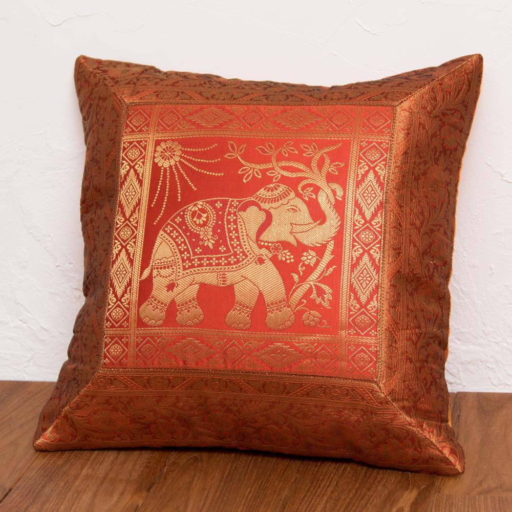 金糸入りのインド伝統柄クッションカバー象 4 - 選択3:オレンジ-右向き