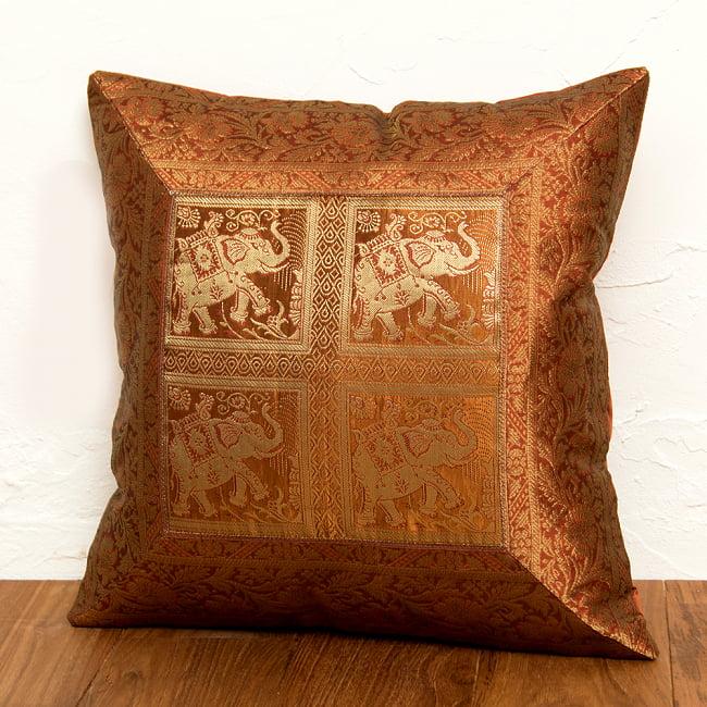 金糸入りのインド伝統柄クッションカバー象 5 - 選択4:ブラウン-4頭