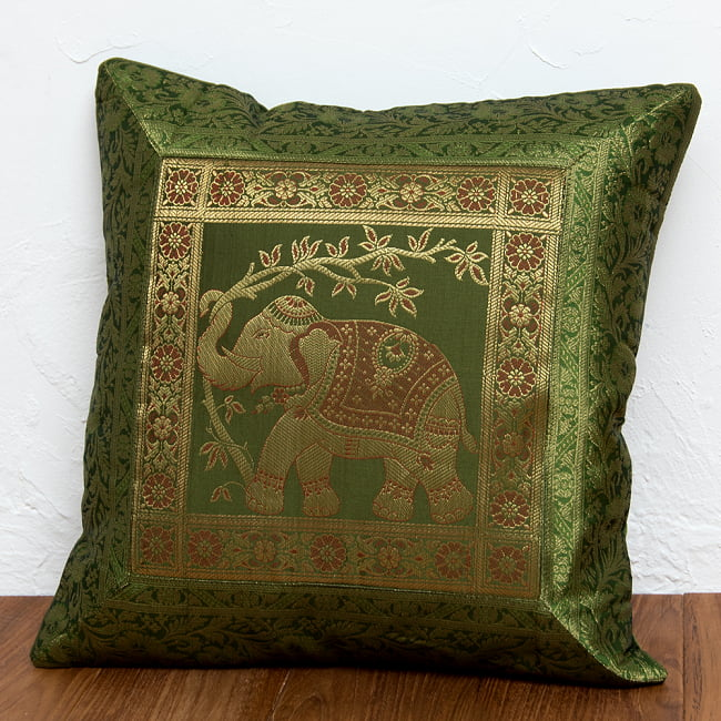 金糸入りのインド伝統柄クッションカバー象 7 - 選択6:グリーン-右向き