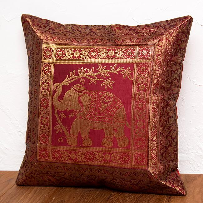 金糸入りのインド伝統柄クッションカバー象 9 - 選択8:レッド-右向き