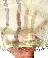 インドのコットンカフェカーテン【ラメライン入り】 - クリームイエロー