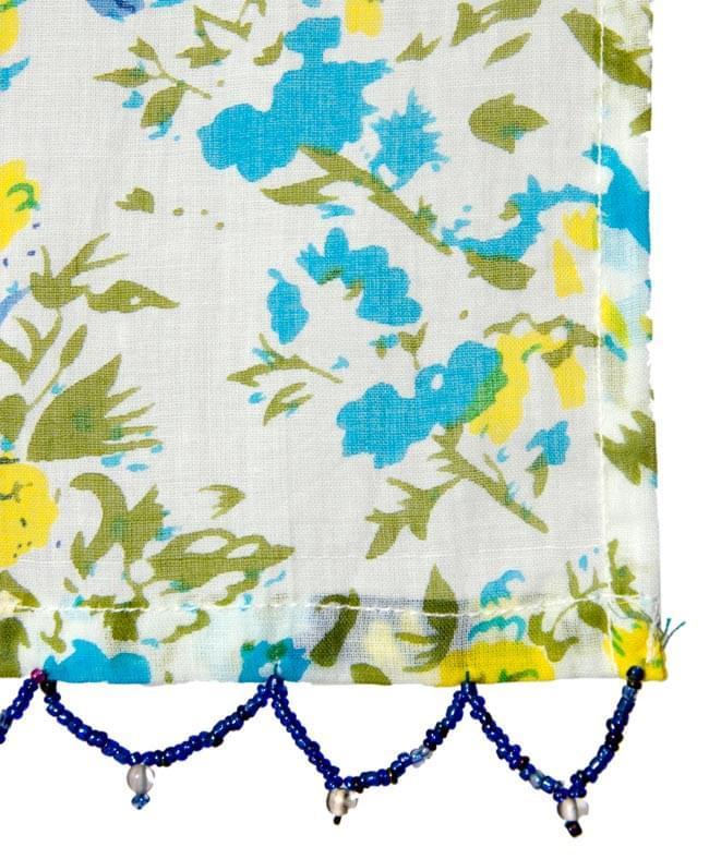 インドのコットンカフェカーテン【花柄】 - 青&黄色系 3 - 縁部分の写真になります