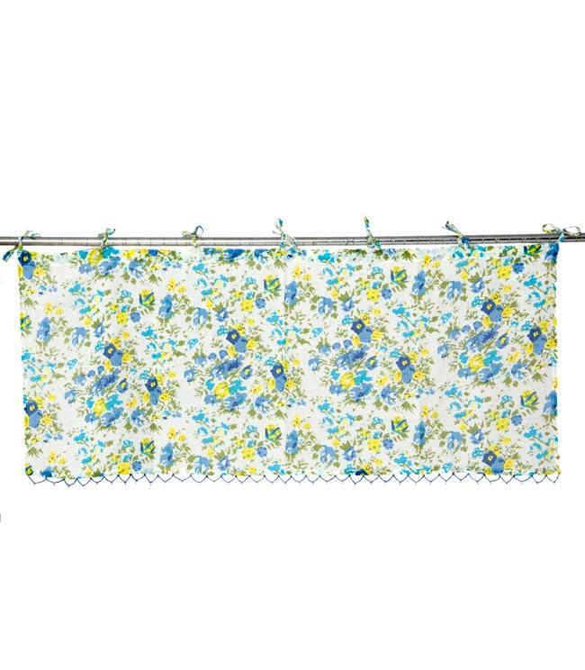 インドのコットンカフェカーテン【花柄】 - 青&黄色系の写真