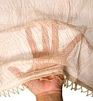 インドのコットンカフェカーテン【渦巻き模様】 - ライトベージュ