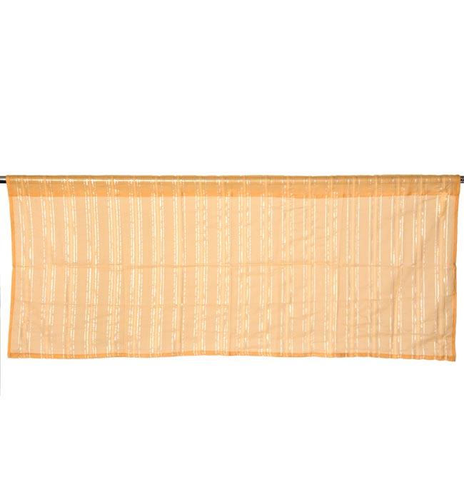 インドのコットンカフェカーテン【ラメライン入り】 - 黄土色の写真