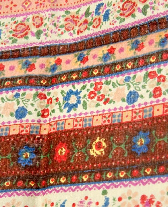 インドのコットンカフェカーテン【花柄ボーダー】 - 暖色系の写真2 - 柄の一部を拡大してみました