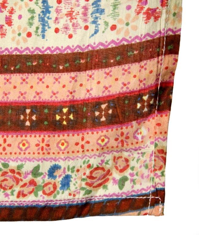 インドのコットンカフェカーテン【花柄ボーダー】 - 暖色系の写真3 - 縁部分の写真になります