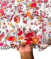 インドのコットンカフェカーテン【花柄】 - 赤系
