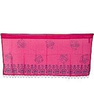 インドのコットンカフェカーテン【お家模様】 - ピンク