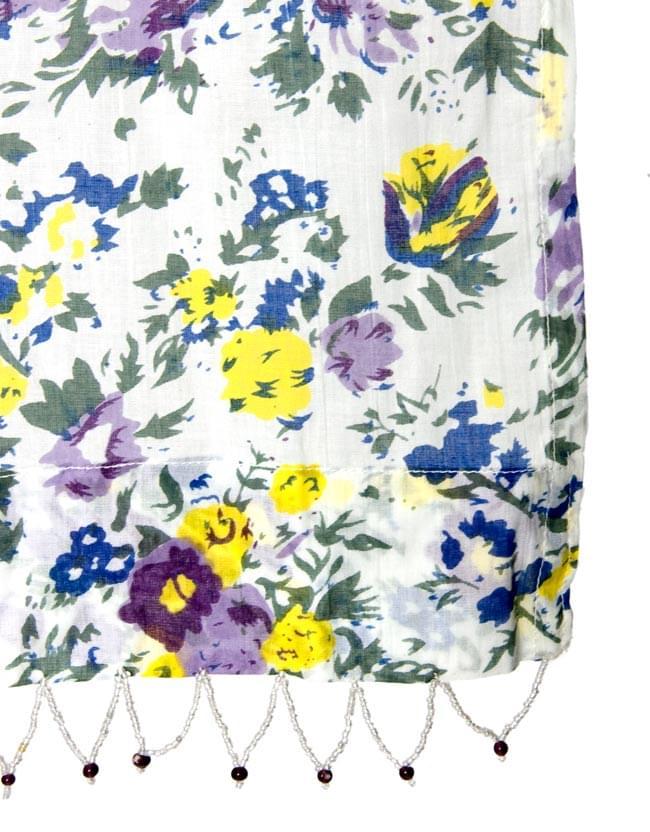 インドのコットンカーテン【花柄】 - 青&紫&黄色系の写真3 - 縁部分の写真になります
