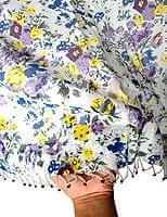 インドのコットンカーテン【花柄】 - 青&紫&黄色系