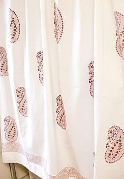 〔100cm×130cm〕インドの木版染め 手作りウッドブロックプリントのサフェードカーテン - 茶系 ペイズリー