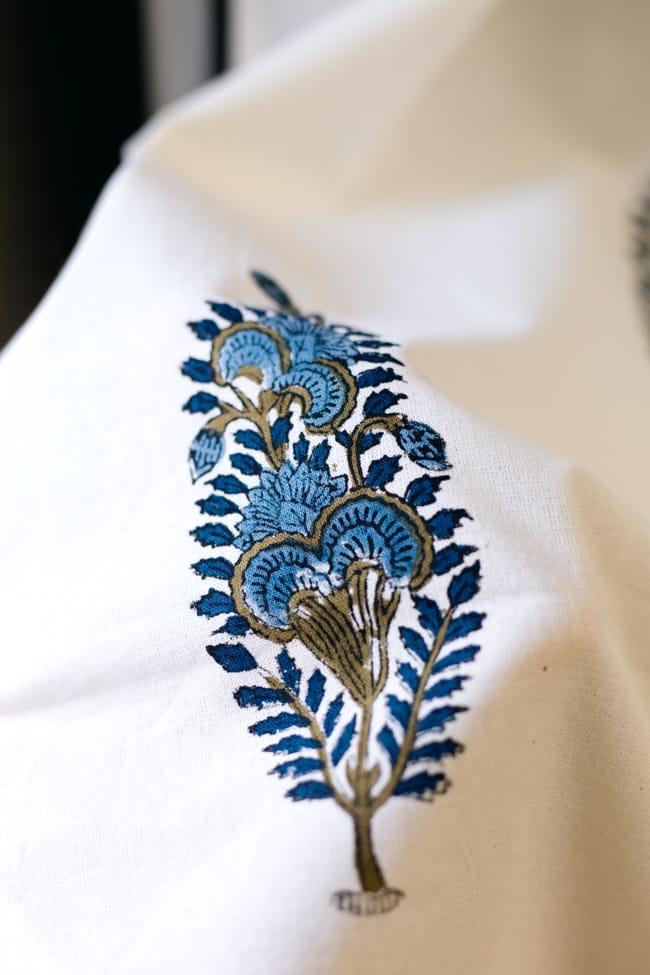 〔100cm×130cm〕インドの木版染め 手作りウッドブロックプリントのサフェードカーテン - 青系 ボタニカル柄の写真6 - ハンドメイドだからこその若干のムラがあったり、機械には出せない温もりを感じられます。