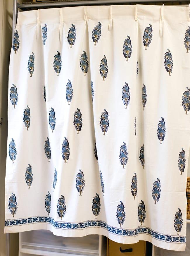 〔100cm×130cm〕インドの木版染め 手作りウッドブロックプリントのサフェードカーテン - 青系 ボタニカル柄の写真