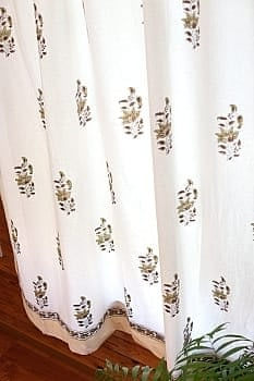 〔100cm×176cm〕インドの木版染め 手作りウッドブロックプリントのホワイトカーテン - 茶系 ボタニカル柄