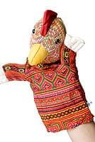 モン族の手作りパペット指人形 - にわとり