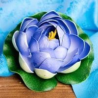 〔約9.5cm〕睡蓮の造花 フローティングロータス - パープル