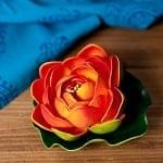 〔約9.5cm〕睡蓮の造花 フローティングロータス - オレンジ