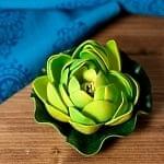 〔約9.5cm〕睡蓮の造花 フローティングロータス - 緑と黄色
