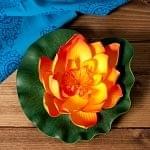 【約17cm】睡蓮の造花 フローティングロータス - オレンジ