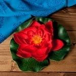 〔約17cm〕睡蓮の造花 フローティングロータス - レッド