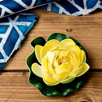 〔約9.5cm〕水に浮かぶ 睡蓮の造花 フローティングロータス - イエロー