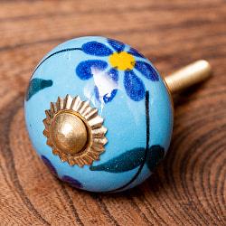 アジアンデザインの取っ手 陶器のプルノブ(ドアノブ)〔3.5cm〕