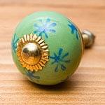 アジアンデザインの取っ手 陶器のプルノブ(ドアノブ)〔4cm〕