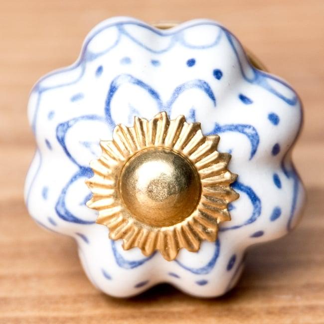 アジアンデザインの取っ手 陶器のプルノブ(ドアノブ)【約3cm】 3 - エスニックな模様が素敵ですね。