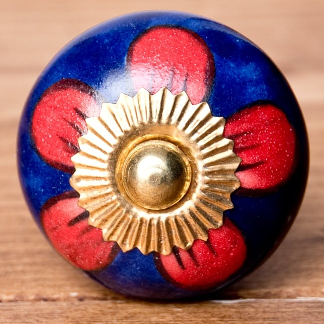 アジアンデザインの取っ手 陶器のプルノブ(ドアノブ)【約3.7cm】 3 - エスニックな模様が素敵ですね。