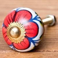 アジアンデザインの取っ手 陶器のプルノブ(ドアノブ)【約3cm】