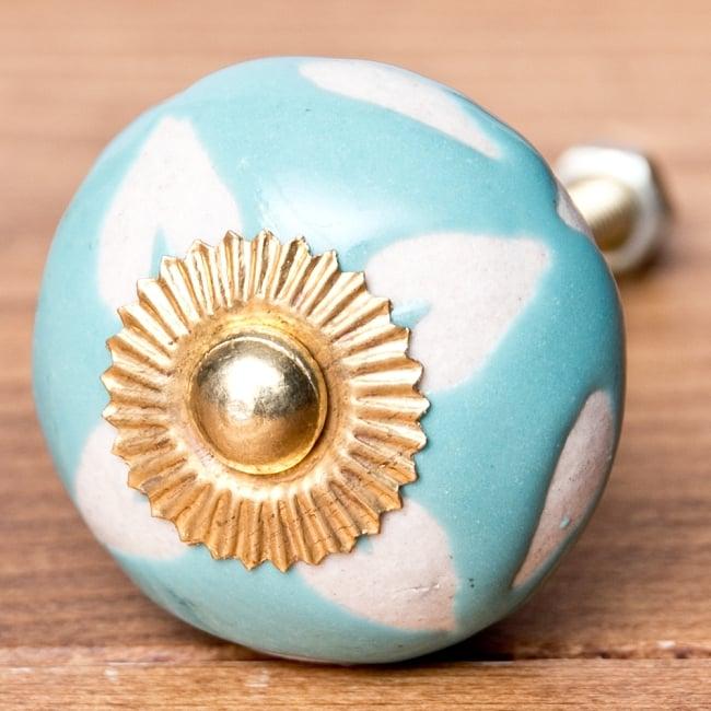 アジアンデザインの取っ手 陶器のプルノブ(ドアノブ)【約3.7cm】の写真