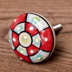 〔平型〕アジアンデザインの取っ手 陶器のプルノブ(ドアノブ)