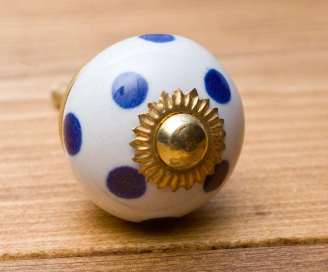 アジアンデザインの取っ手 陶器のプルノブ(ドアノブ)〔3cm〕の写真3 - エスニックな模様が可愛らしいですね。