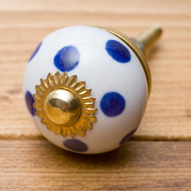 アジアンデザインの取っ手 陶器のプルノブ(ドアノブ)〔3cm〕の写真