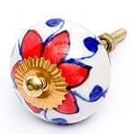 アジアンデザインの取っ手 陶器のプルノブ(ドアノブ)〔4.5cm〕