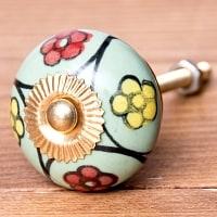 アジアンデザインの取っ手 陶器のプルノブ(ドアノブ)〔3cm〕