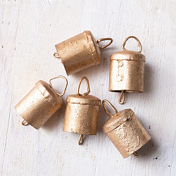 【3個セット】手作りのやさしい音色 インドの銅製ベル-【3cm*4cm】