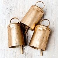 【3個セット】手作りのやさしい音色 インドの銅製ベル-【3.5cm*5.5cm】