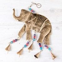 ドアチャイムなどへ!手作りのやさしい音色 インドの銅製ベル付きハンギング - ゴールド象さん〔約45cm〕
